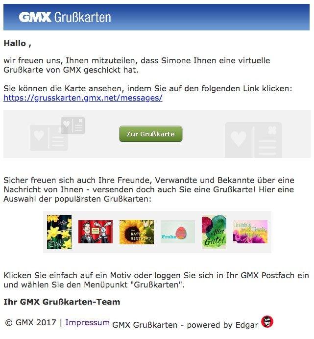 GMX Phishing-Mail Grußkarte