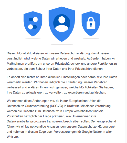 Google-Mail Verbesserungen an unserer Datenschutzerklärung und den Datenschutzeinstellungen