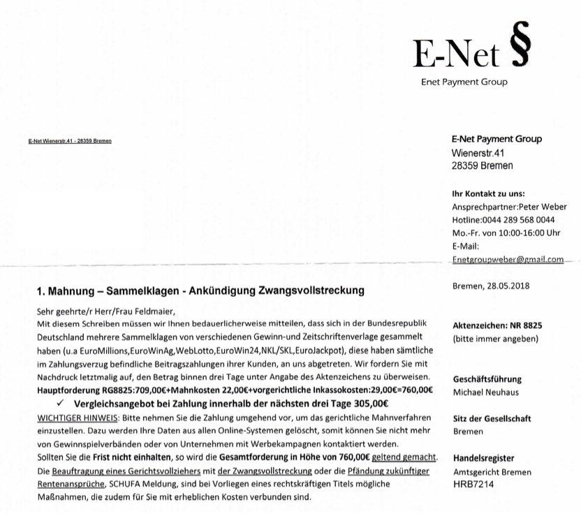 Vorsicht Betrug 1 Mahnung Der Losenet Group Aus Hannover