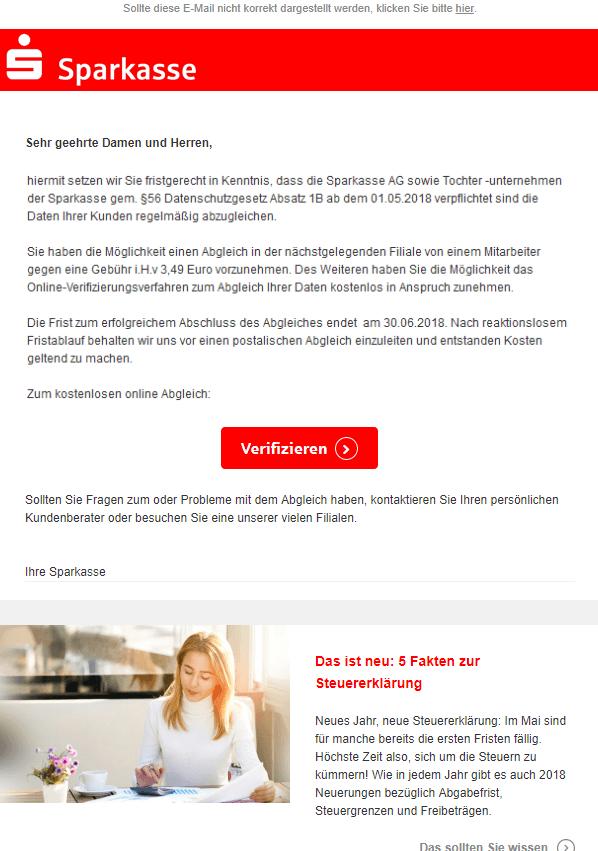 2018-05-05 Sparkasse Datenschutz Änderung - Handlungsbedarf