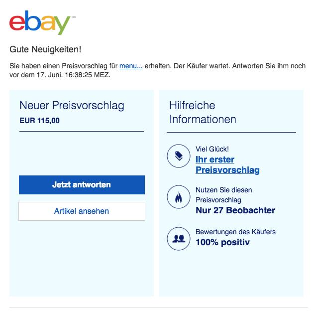 2018-06-14 ebay Phishing Mail Neuer Preisvorschlag