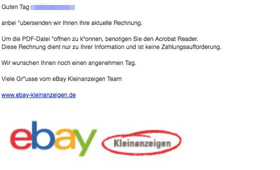 ebay phishing aktuell diese spam mails sind eine. Black Bedroom Furniture Sets. Home Design Ideas