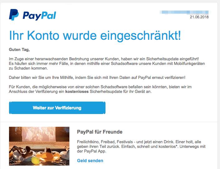 2018-06-22 PayPal Spam Mail Sicherheitsupdate