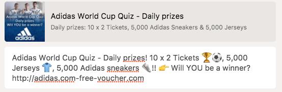 2018-06-25 Fake Adidas Gewinnspiel in englischer Sprache