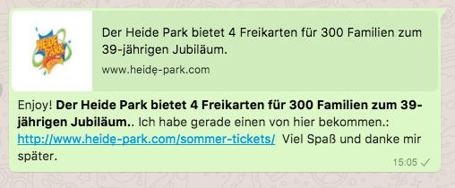 2018-06-25 WhatsApp Kettenbrief Heide Park Soltau 4 Eintrittskarten