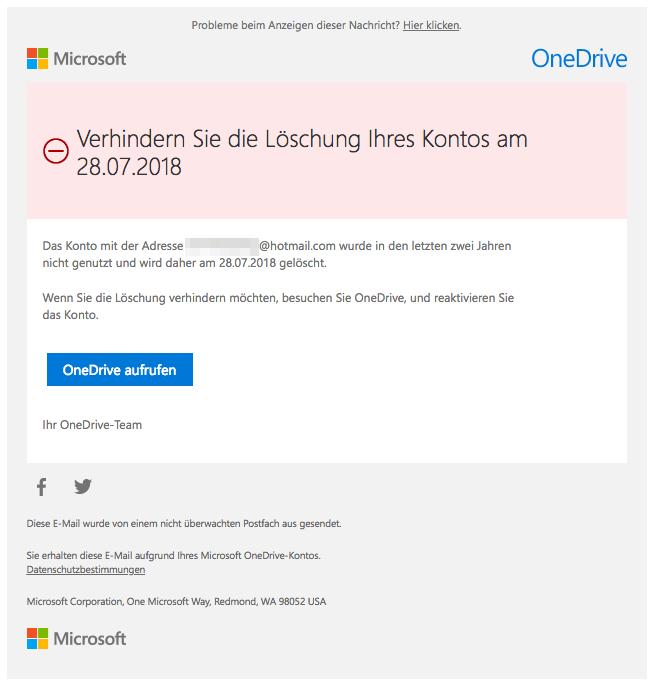 2018-06-28 Entwarnung OneDrive Microsoft E-Mail
