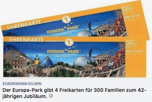 2018-07-02 Europa-Park Gewinnspiel 4 Freikarten für 300 Familien