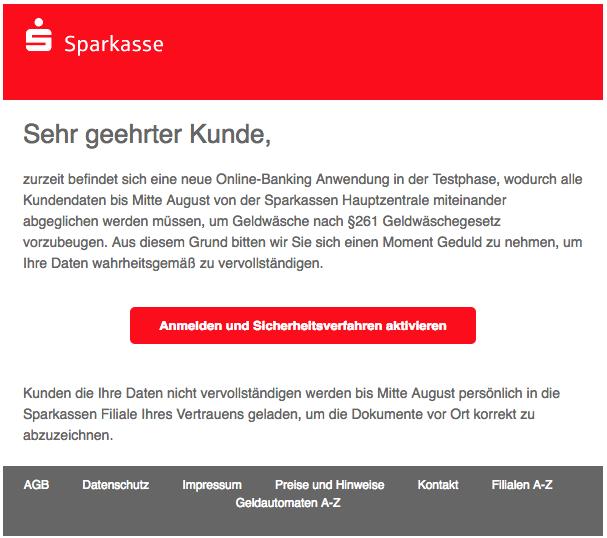 2018-07-02 Sparkasse Spam Mail kundenbetreung Ref-Nr