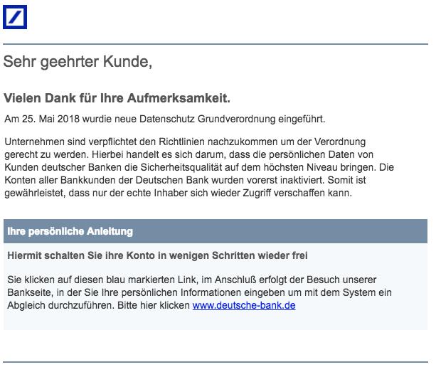 2018-07-06 Deutsche Bank Spam Datenschutzänderung - Handlungsbedarf