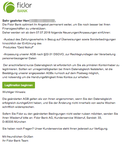 2018-07-07 Fidor Spam Mail Wichtig: Aktualisierung unsere AGBs
