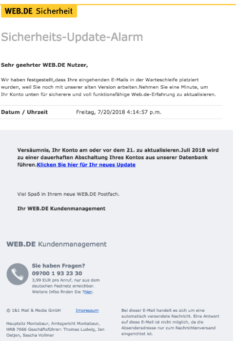 2018-07-23 Web-de Spam Mail Konto aktualisieren