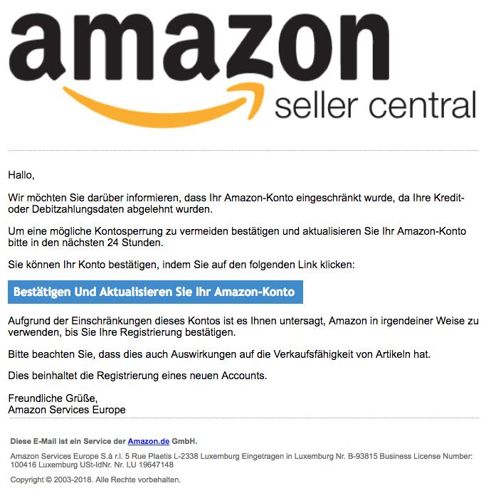 2018-08-03 Amazon Seller Central Spam Mail Konto aktualisieren