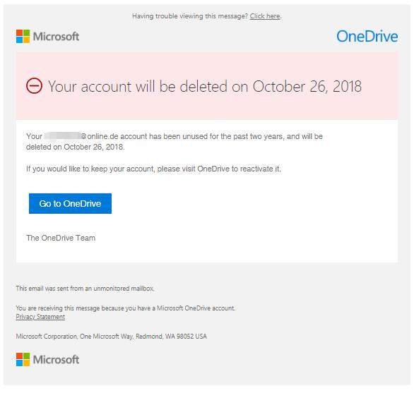 E Mail Wegen Löschung Des Onedrive Kontos Microsoft Ist Echt