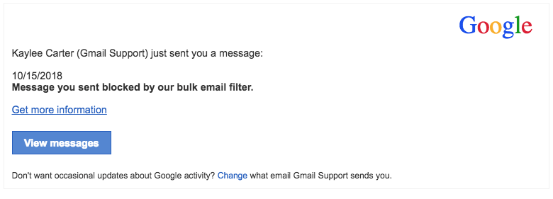 2018-10-15 Google Spam Mail Incoming messages Gmail Support