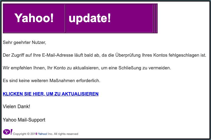 2019-10-02 Yahoo Spam-Mail Erforderliche Aktion Kontoauflösung Warnung