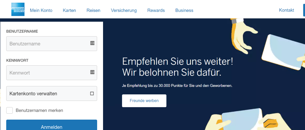 American Express Fake-Webseite