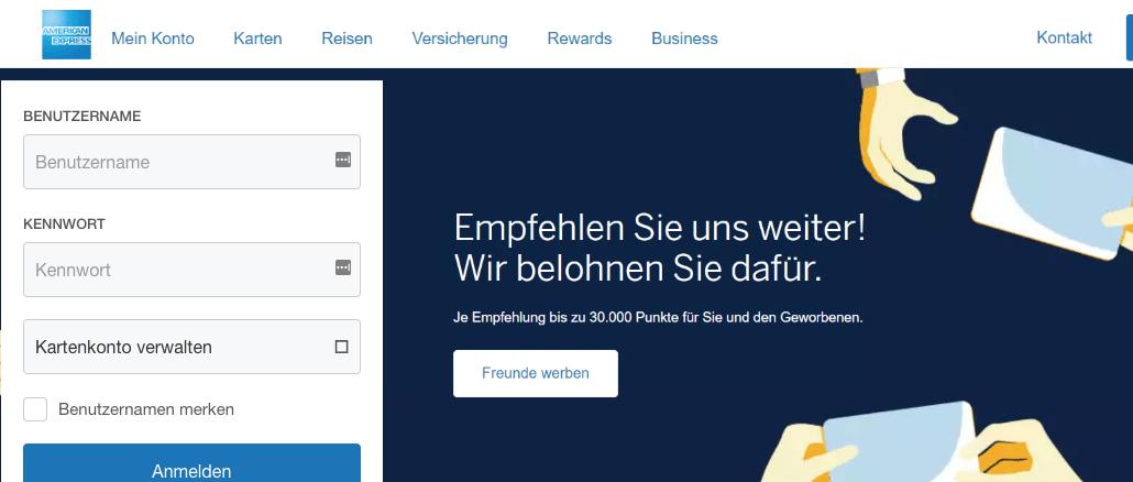 American Express Fake-Webseite