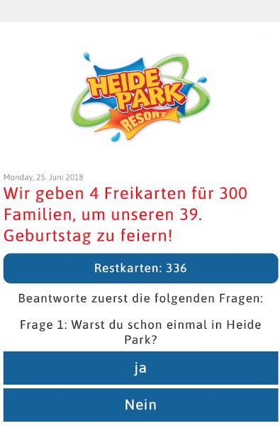 Fake Webseite mit Heide Park Logo
