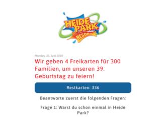 Kostenlose Tickets Heide Park Solltau Fake-Aktion