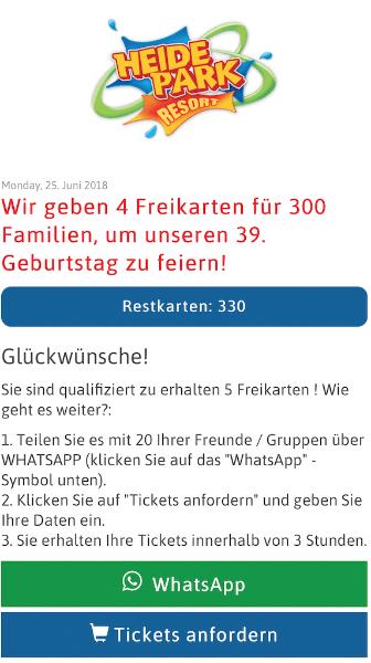Kostenlose Tickets Heide Park per WhatsApp teilen