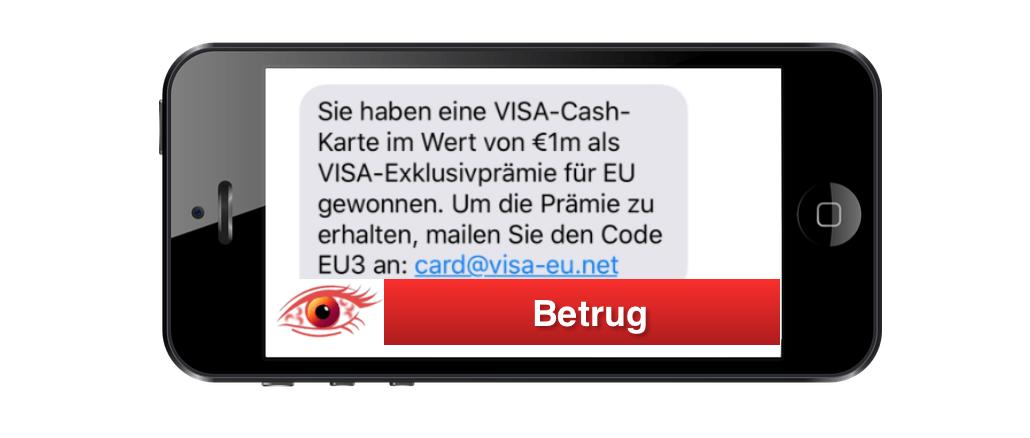SMS im Namen von VISA mit Gewinn ist Betrug