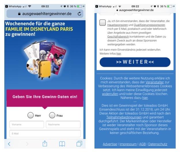 Per WhatsApp 4 Karten an 500 Familien für Disneyland Paris