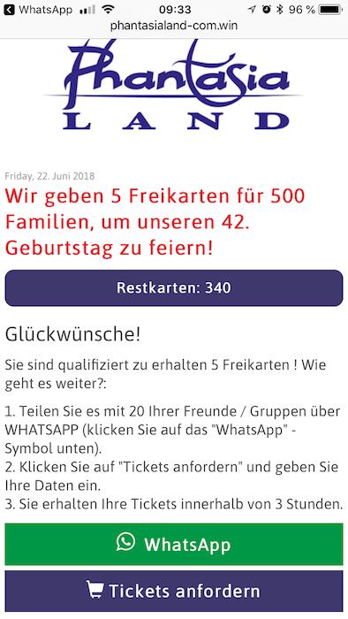 WhatsApp Kettenbrief Phantasialand Brühl