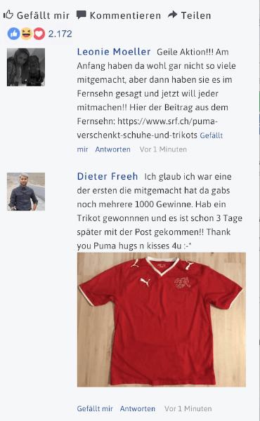 WhatsApp Kettenbrief Puma Fake Facebook Kommentare