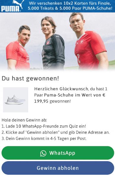 WhatsApp Kettenbrief Puma Schuhe gewonnen