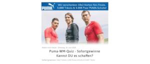WhatsApp Kettenbrief Puma verschenkt Tickts Trickots und Schuhe - Fake