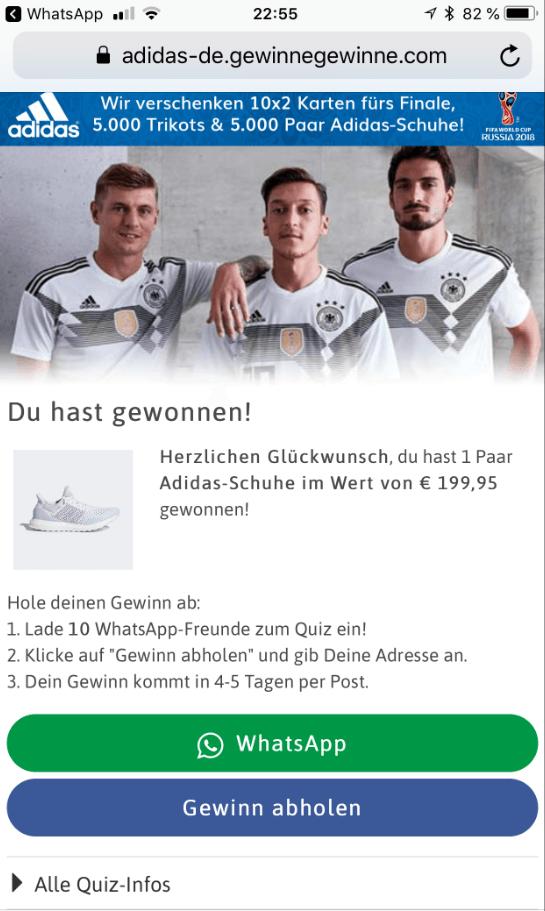 WhatsApp Kettenbrief von Adidas 2
