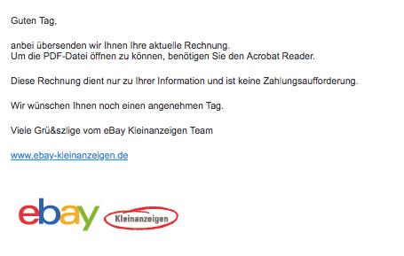 ebay kleinanzeigen Rechnung Information