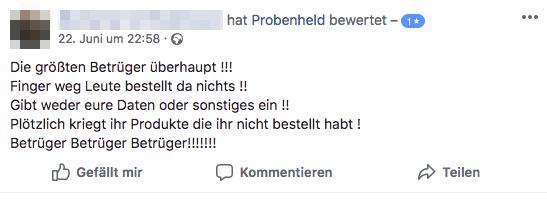 2018-07-02 Bewertung auf der Facebookseite von probenheld