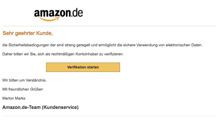 2018-07-06 Amazon Spam Mail Ihr Kundenkonto wurde eingeschränkt