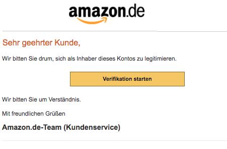 2018-07-07 Amazon Spam Mail Ihr Kundenkonto wurde eingeschränkt