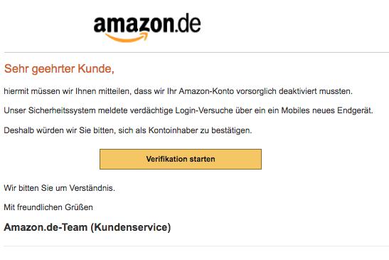 2018-07-07 Amazon Spam Mail hr Kundenkonto wurde eingeschränkt