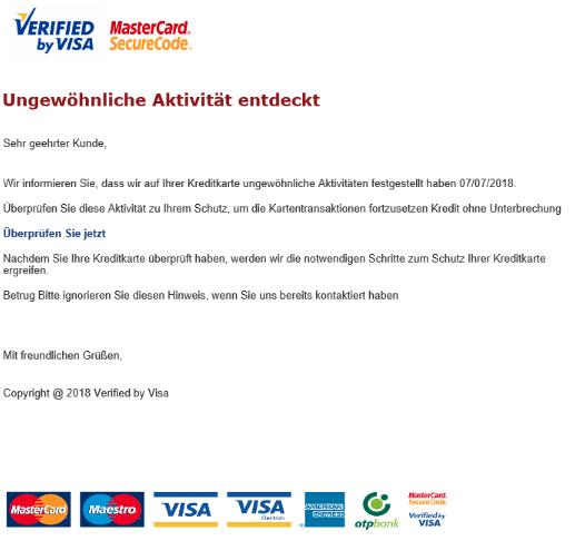 2018-07-07 Mastercard Visa Spam Mail Wichtiger Hinweis