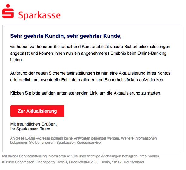 2018-07-14 Sparkasse Phishing Mail Neue Sicherheitseinstellungen