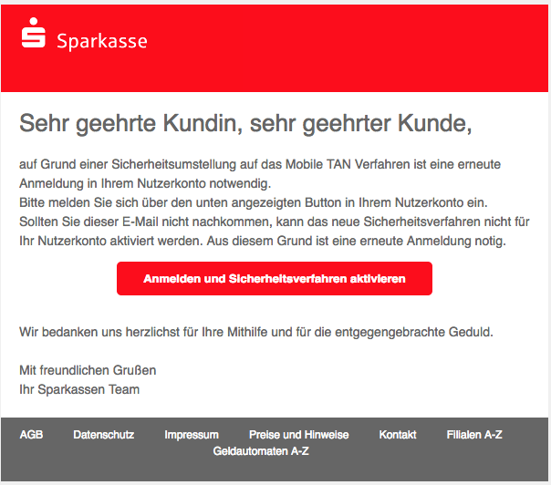 2018-07-15 Sparkasse Spam Mail info-sparkassen Mobile TAN