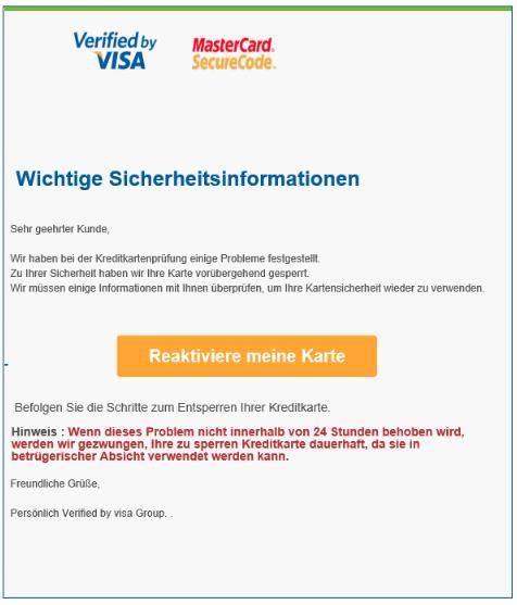 2018-07-16 Visa Kreditkarte Spam Mail Deine Karte wurde gesperrt