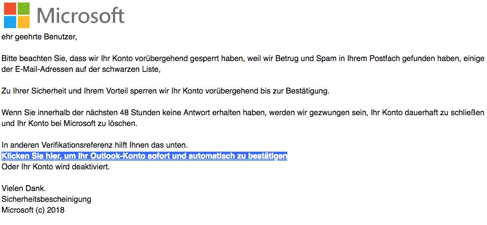 2018-07-17 Microsoft Spam Mail Konto gesperrt kritische Warnung