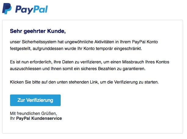 2018-07-18 PayPal Spam Einschränkung Ihres Kontos