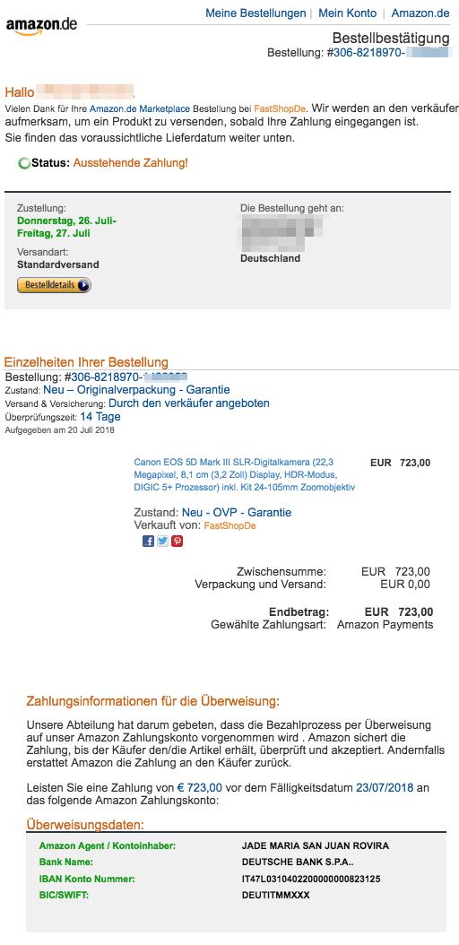 Amazon Zahlungsaufforderung