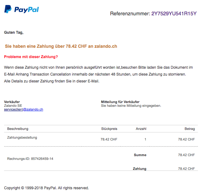 paypal phishing eingang ihrer zahlung an zalando se update. Black Bedroom Furniture Sets. Home Design Ideas