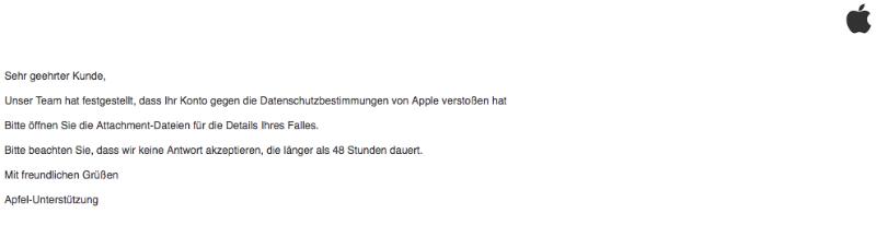 2018-07-24 Apple Spam Mail Verstoss Datenschutzbedingungen