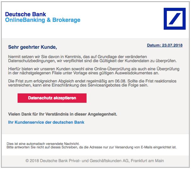 2018-07-24 Deutsche Bank Spam Mail Datenschutzänderung