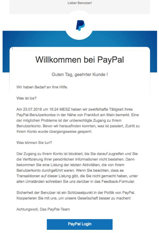 2018-07-26 PayPal Spam Konto verifizieren