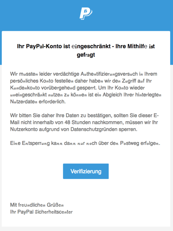 2018-07-26 PayPal Spam Mail Konto gesperrt