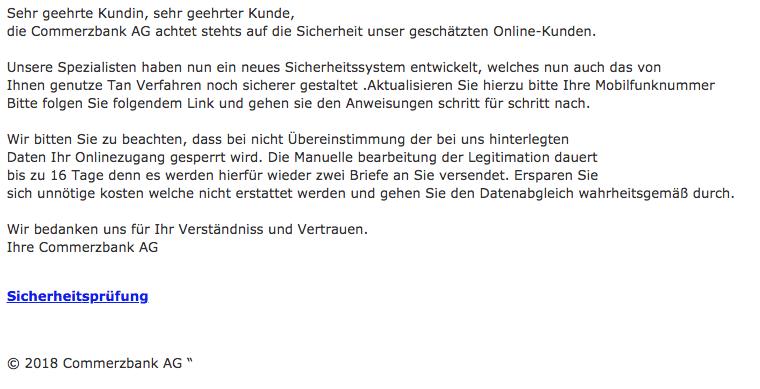 2018-07-27 Commerzbank Spam Mail WIchtige Kundenrundmitteilung