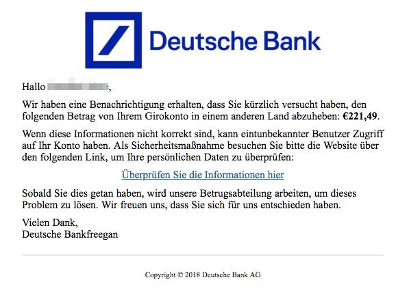 2018-07-30 Deutsche Bank Spam Mail Ihr Konto hat Sicherheitsprobleme